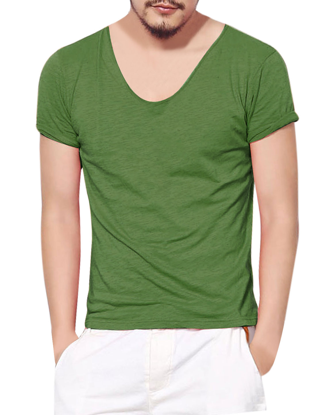 Man Scoop Neck Short Sleeve Casual Top Green M