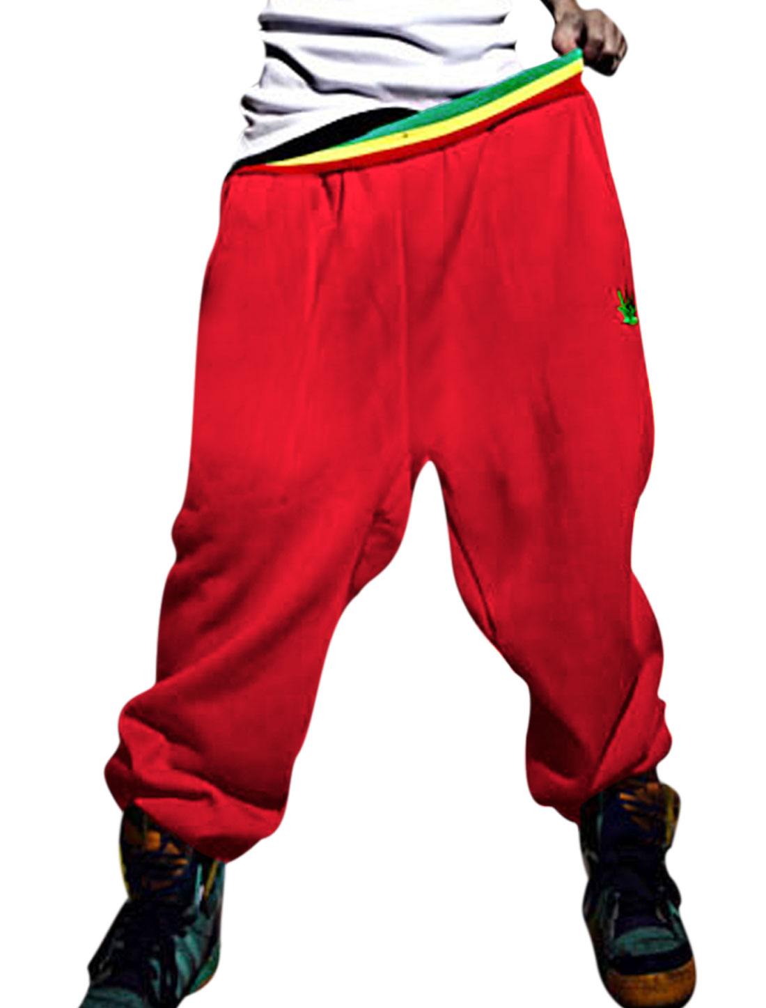 Men Elastic Ribbed Waist Slant Pockets Front Loose Fit Sport Pants Red W30