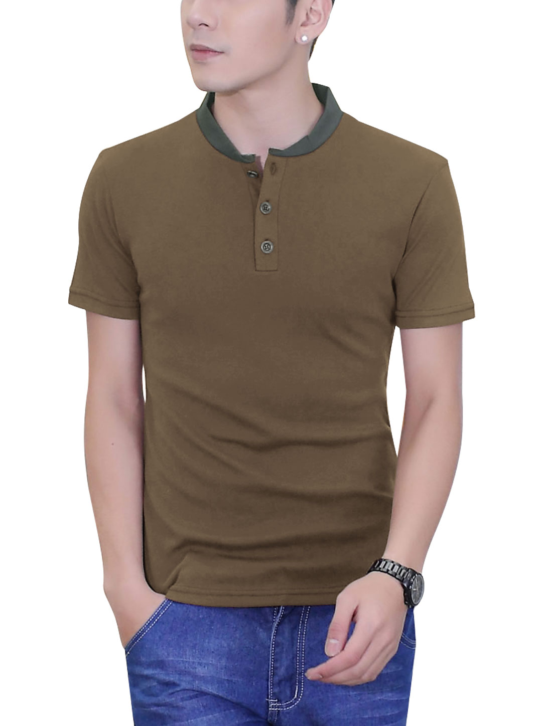 Men New Style Short Sleeve Slim Ribbed Pullover Henley Shirt Coffee M
