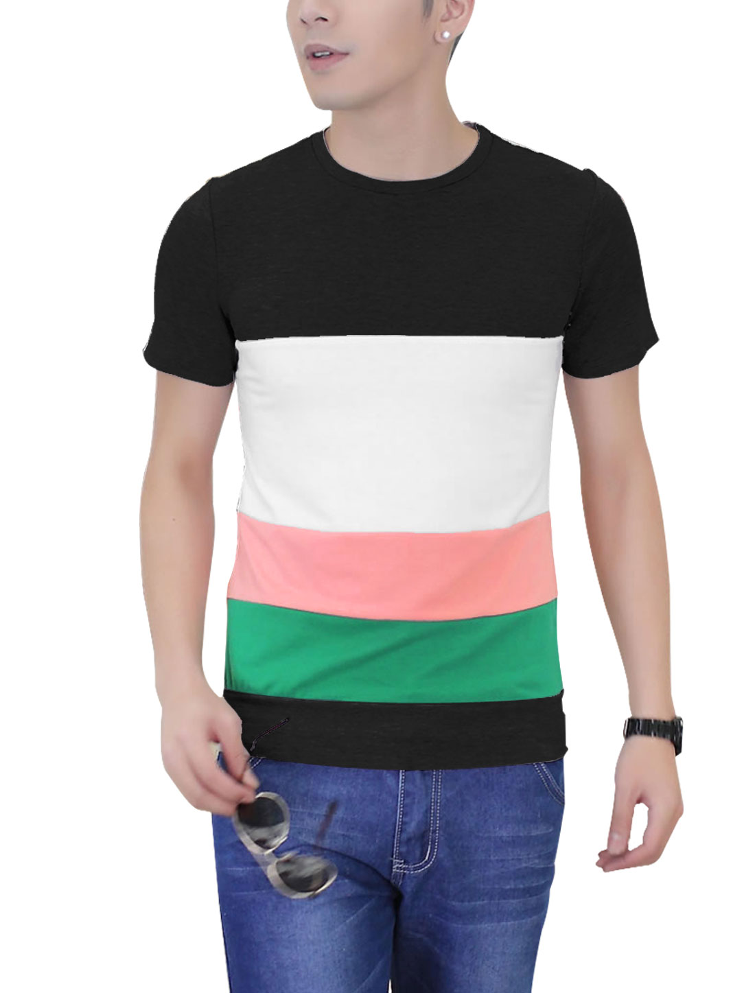 Men Round Neck Color Block Short Sleeve Casual T-shirt Black M