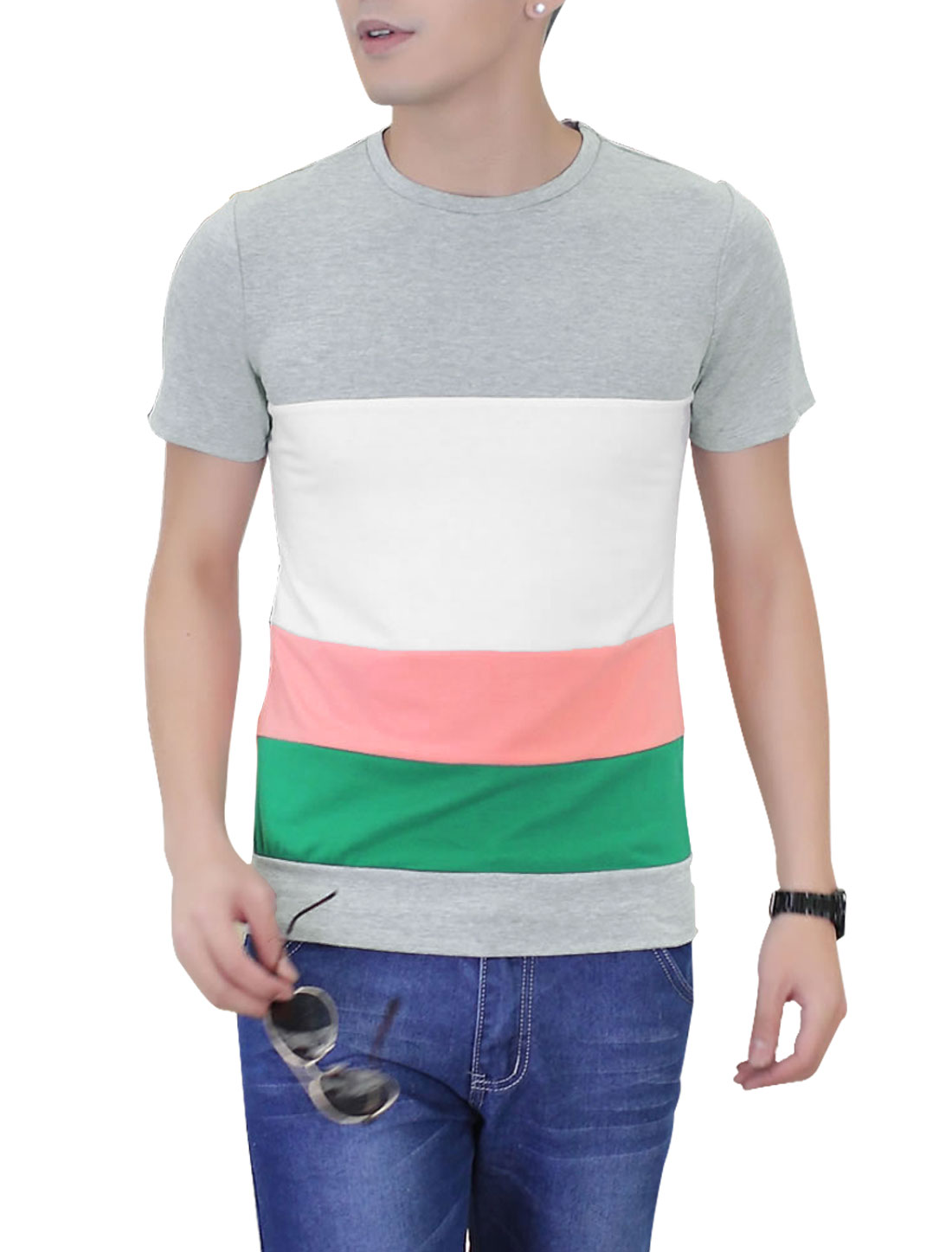 Men Casual Contrast Color Round Neck Short Sleeve Slim Tee Shirt Gray M