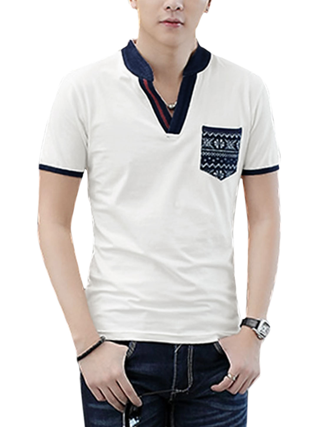 Men Split Neck Short Sleeve Panel Design Casual T-Shirt White M