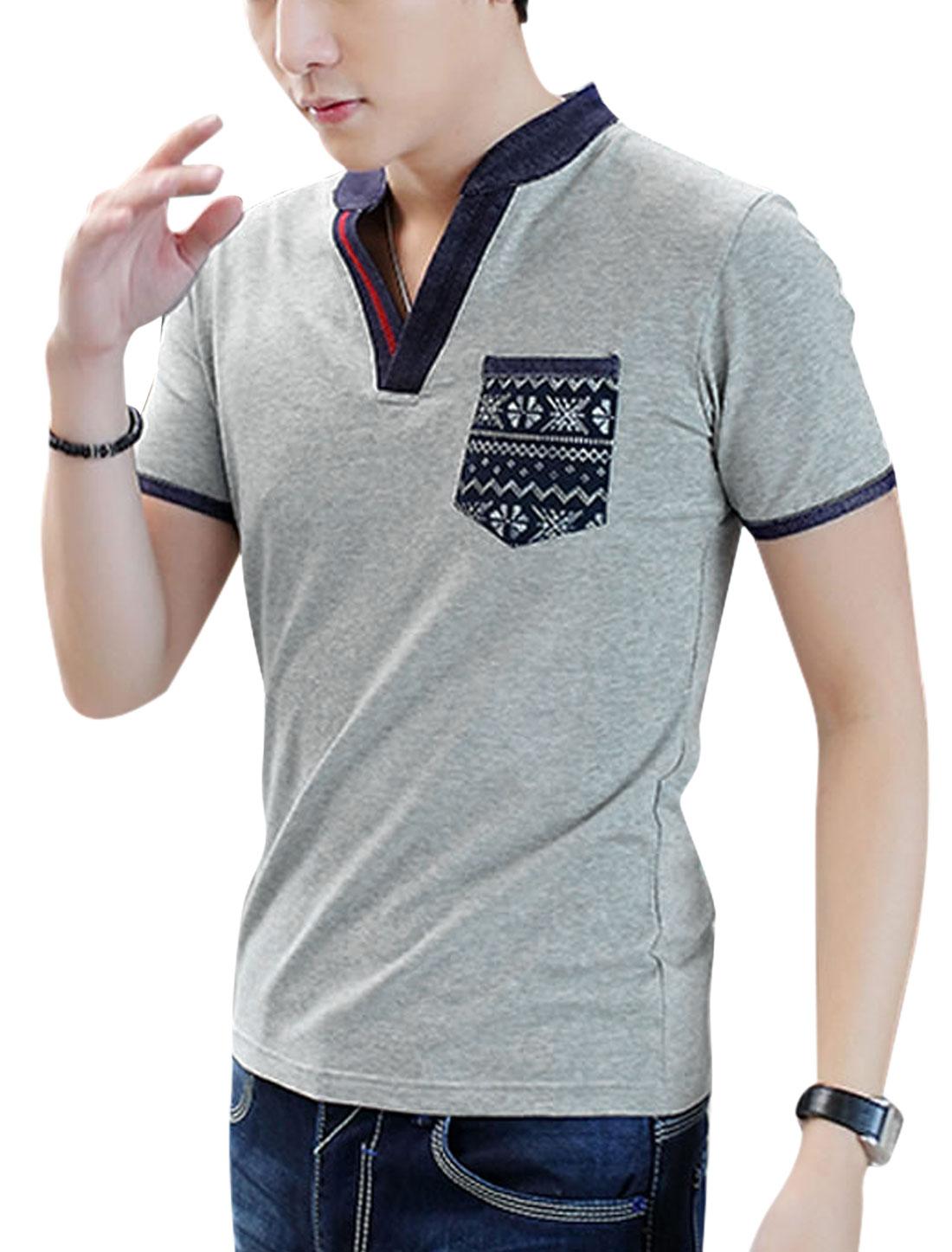Men Split Neck Short Sleeve Panel Design Leisure T-Shirt Light Gray M