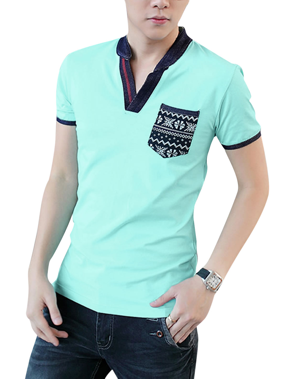 Men Split Neck Short Sleeve Panel Design Casual T-Shirt Mint M
