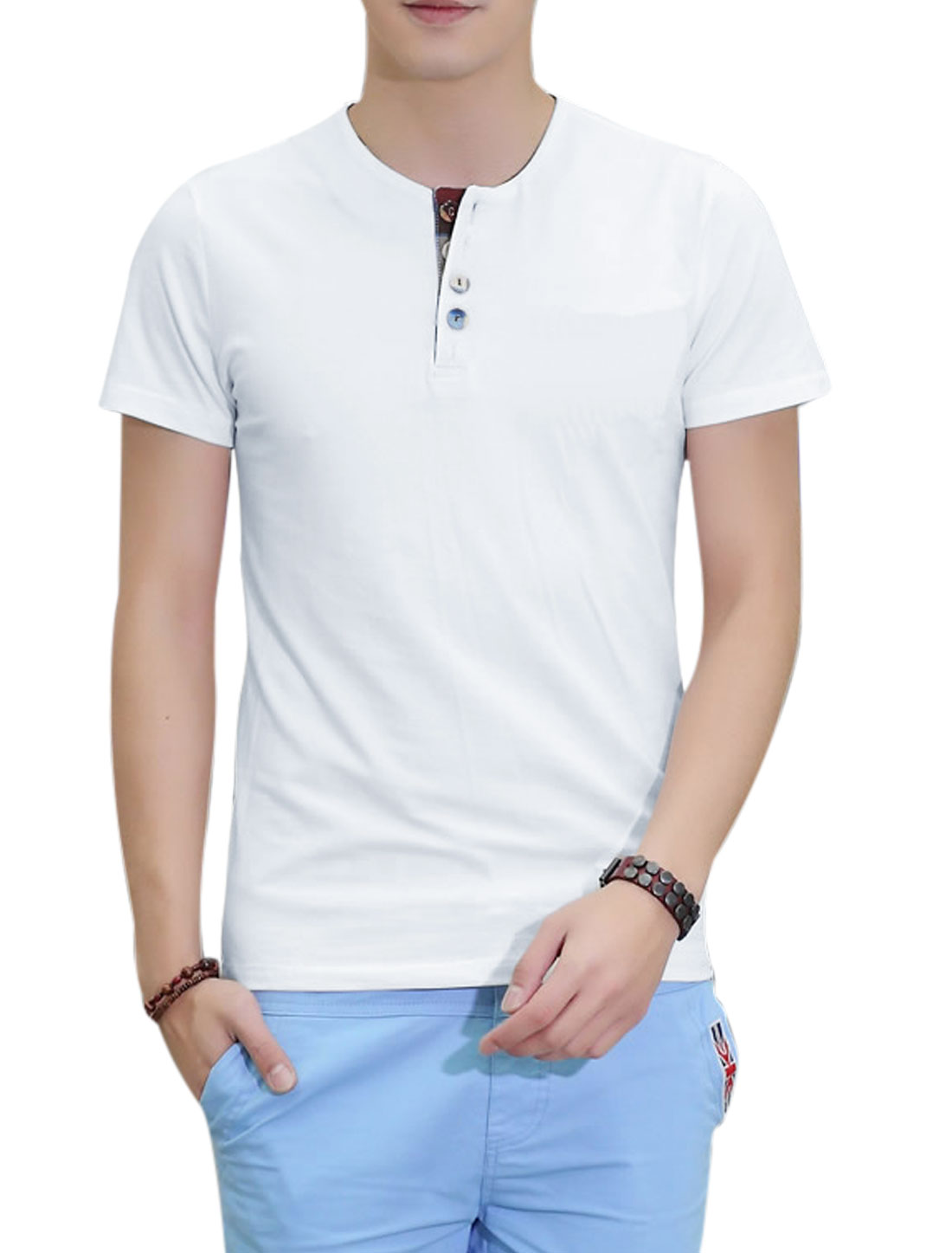 Round Neck Short Sleeve 1/4 Placket T-Shirt for Men White M