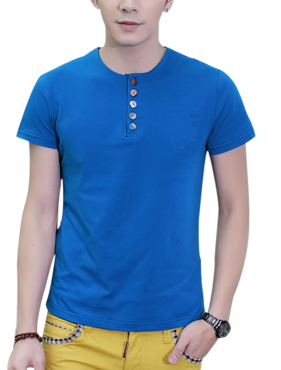 Round Neck Short Sleeve 1/4 Placket Tee for Men Royal Blue M