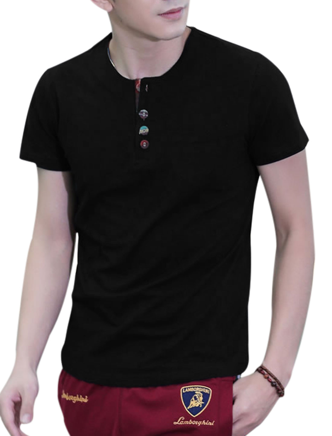 Men Round Neck Short Sleeve 1/4 Placket Basic Tee Black M