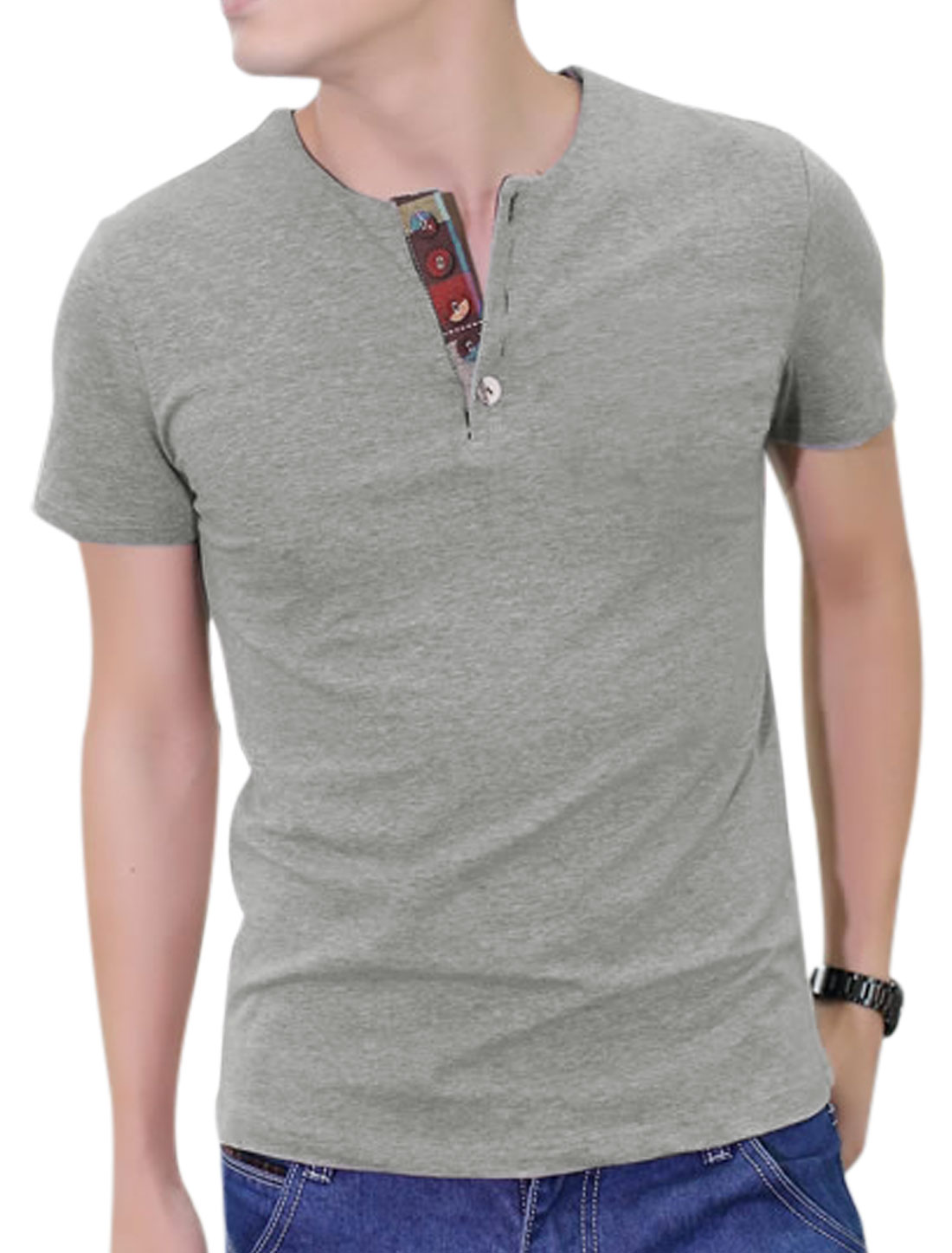 Pullover Round Neck Short Sleeve 1/4 Placket T-Shirt for Men Gray M