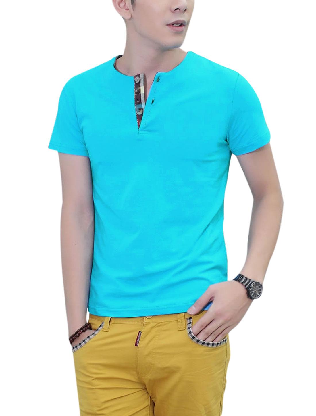 Slipover Round Neck Short Sleeve 1/4 Placket T-Shirt for Men Sky Blue M