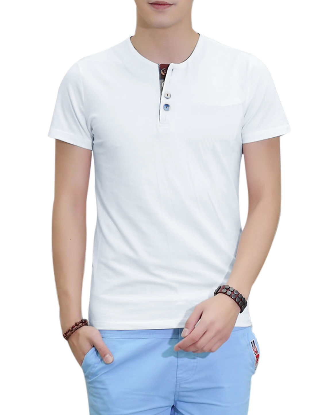 Round Neck Short Sleeve 1/4 Placket Simple T-Shirt for Men White L