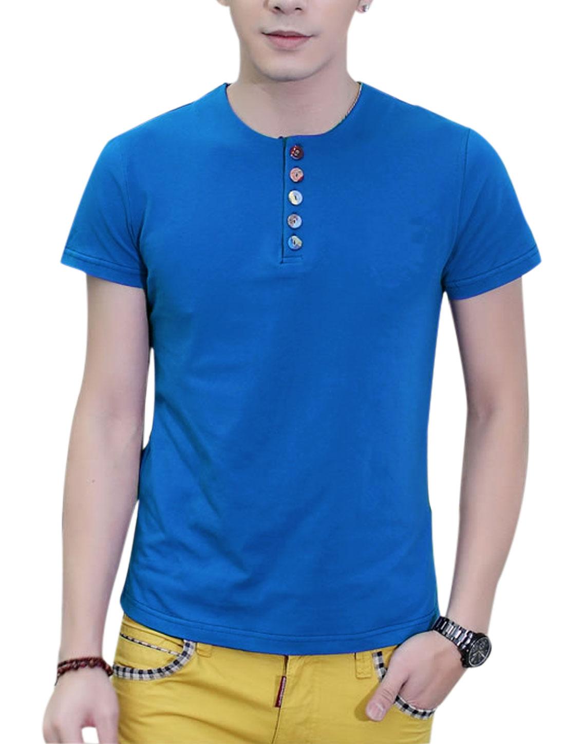 Round Neck Short Sleeve 1/4 Placket Summer T-Shirt for Men Royal Blue L