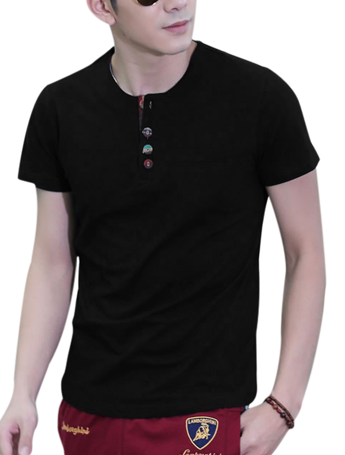 Round Neck Short Sleeve 1/4 Placket Slim Fit T-Shirt for Men Black L