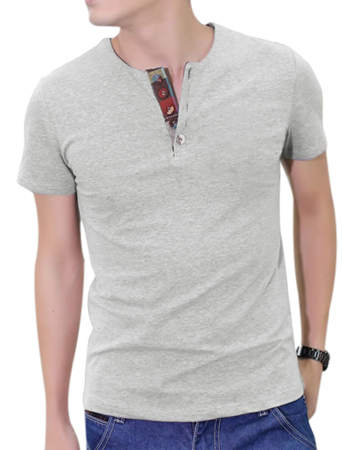 Easy Wear Round Neck Short Sleeve 1/4 Placket T-Shirt for Men Gray L