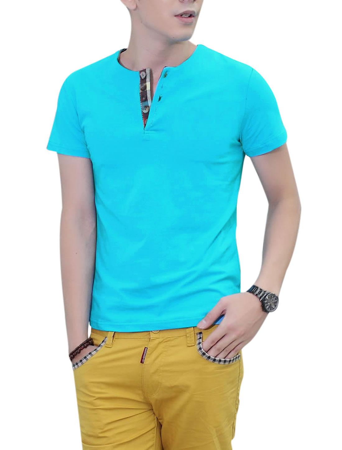 Round Neck Short Sleeve 1/4 Placket Soft T-Shirt for Men Sky Blue L