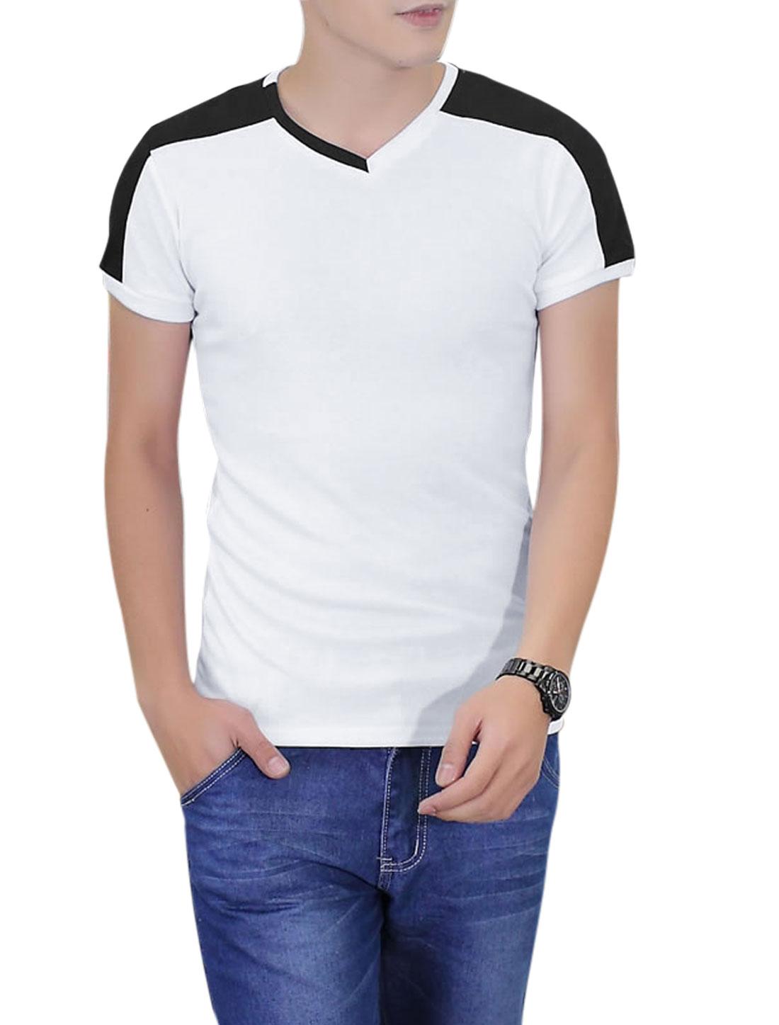 Men V Neck Panel Design Ribbed Design Pullover T-Shirt White M