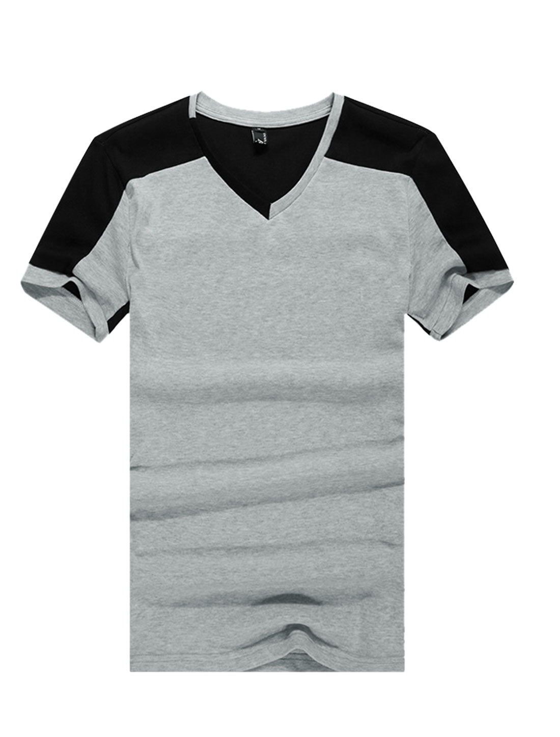 Men V Neck Panel Design Ribbed Design Summer T-Shirt Light Gray M