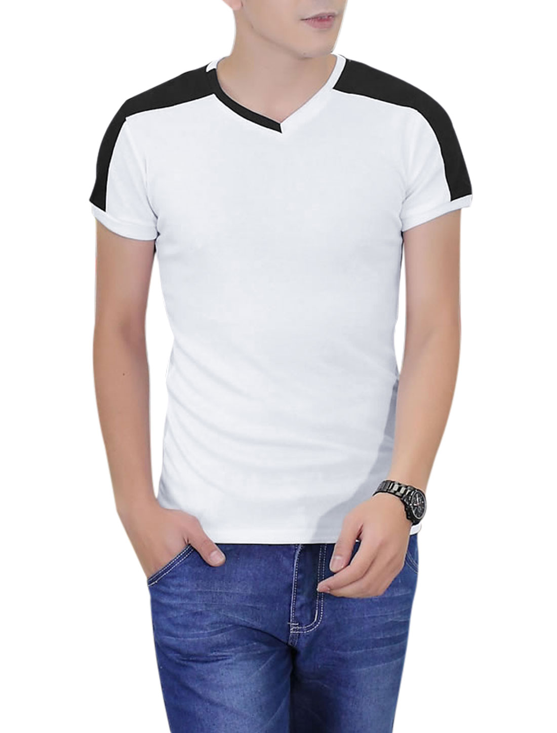 Men V Neck Panel Design Ribbed Design Casual T-Shirt White L