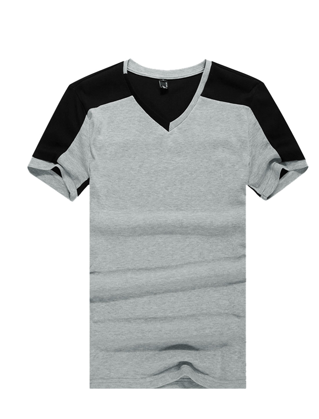 Men V Neck Panel Design Ribbed Design Casual T-Shirt Light Gray L