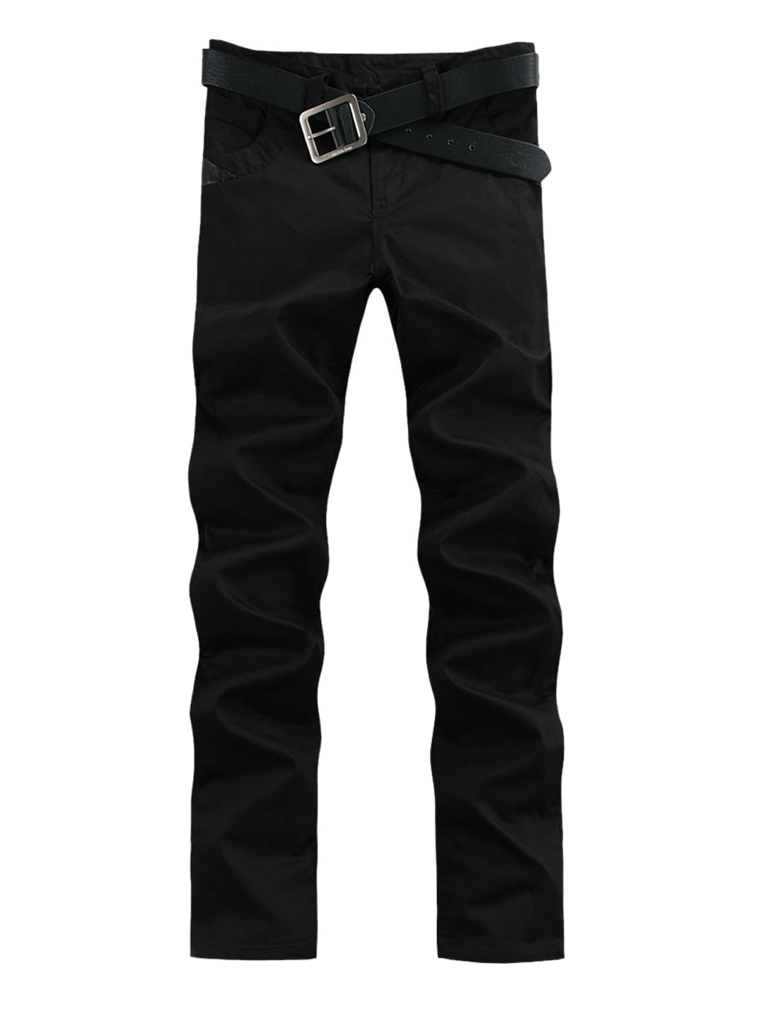 Men Belt Loop Zip Up Imitation Leather Leisure Pants Black W32