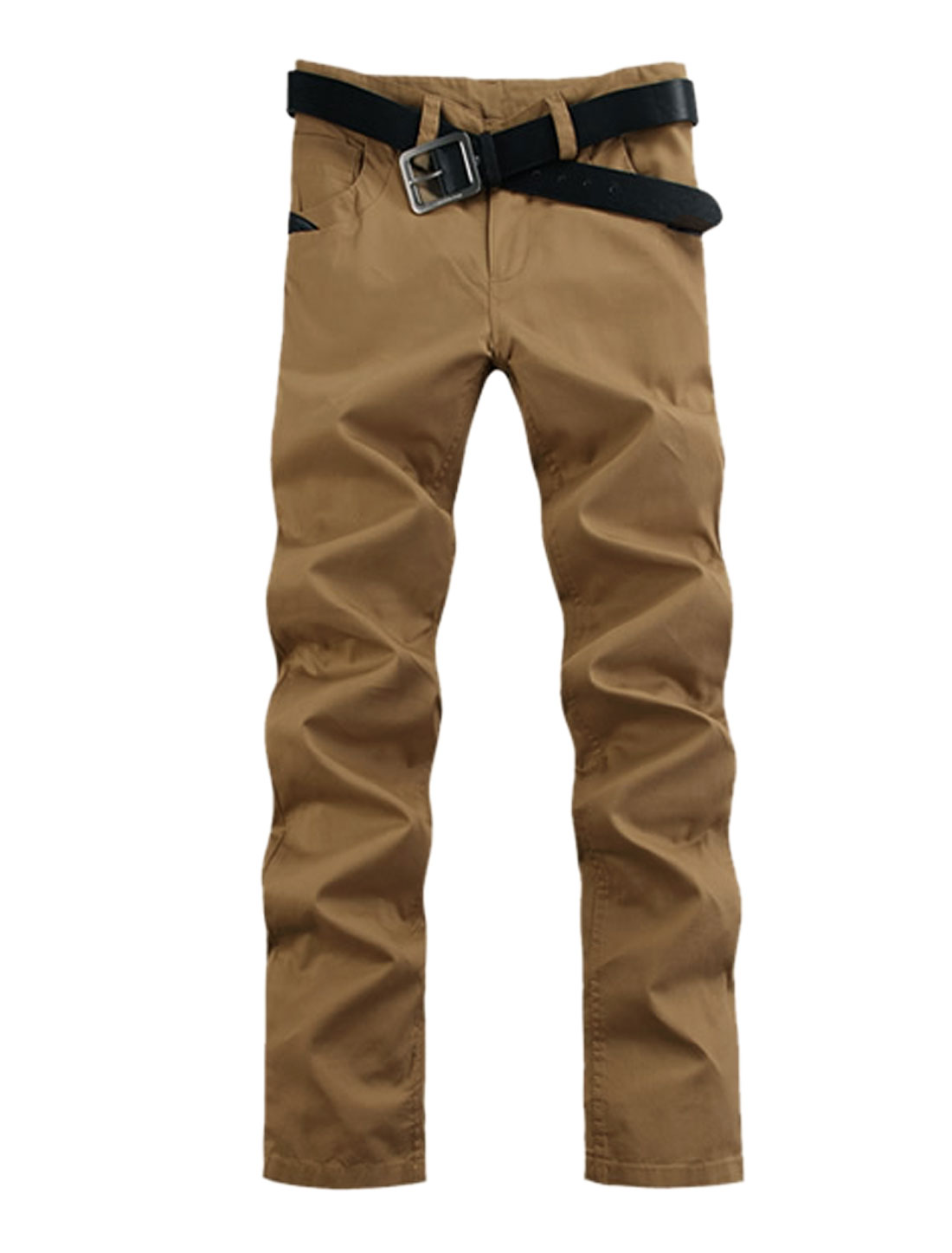 Men Belt Loop Zip Up Double Slant Pockets Front Casual Pants Khaki W32