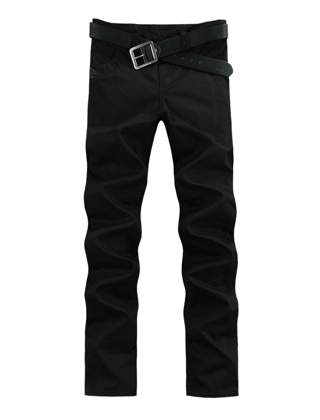 Men Belt Loop Zipper Closure Buttons Decor Casual Pants Black W36