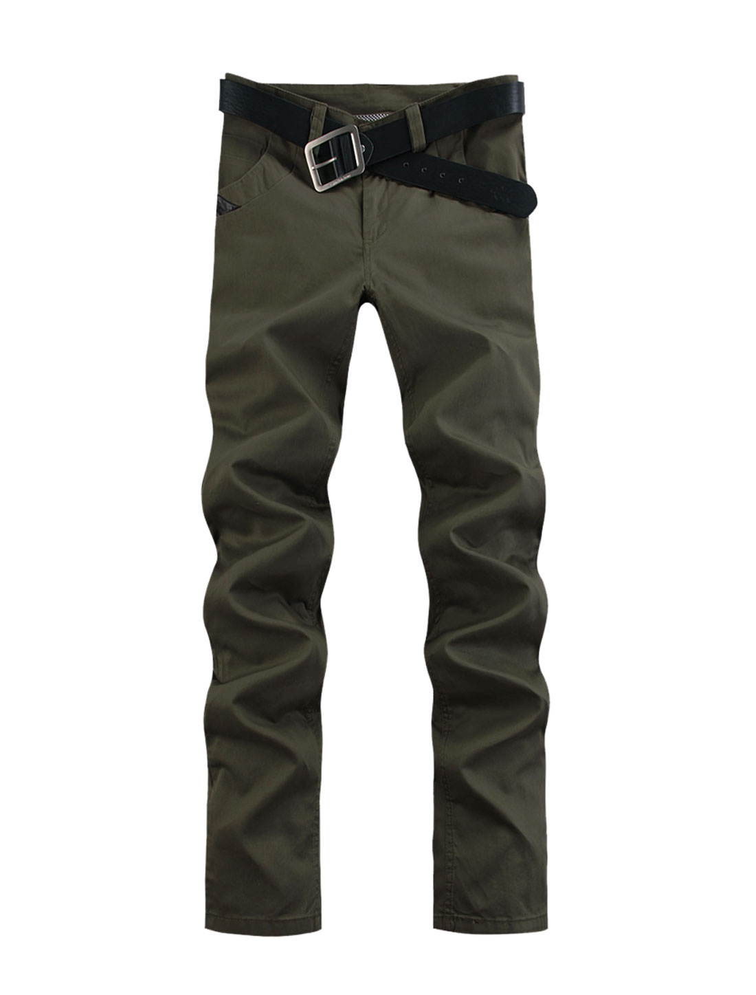 Men Belt Loop Imitation Leather Casual Pants Army Green W36