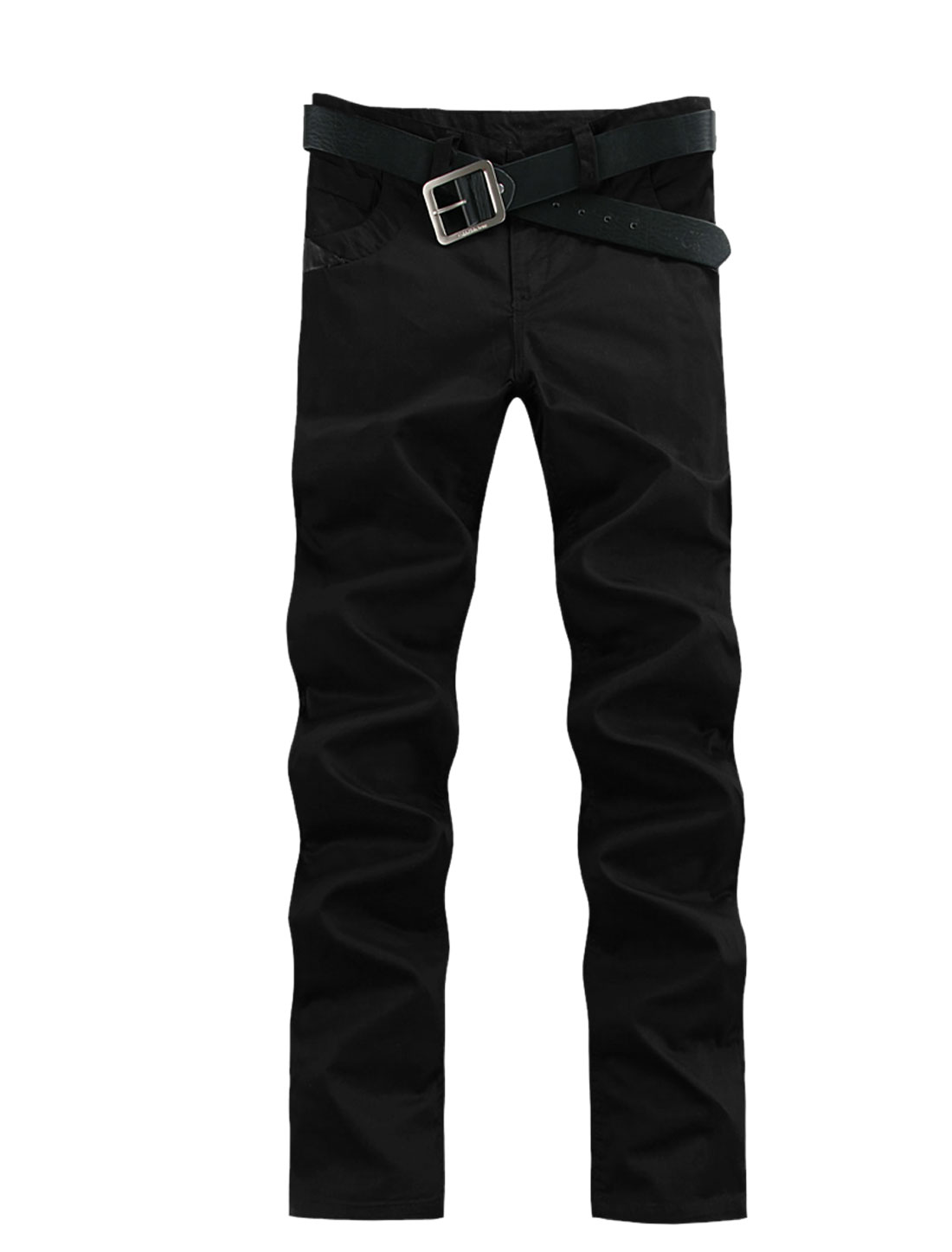 Men Zip Up Imitation Leather Loose Fit Pants Black W40