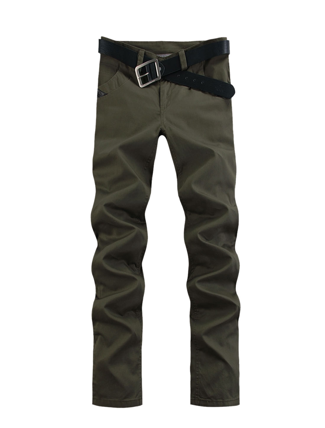 Men Mid Rise Zip Up Imitation Leather Pants Army Green W40