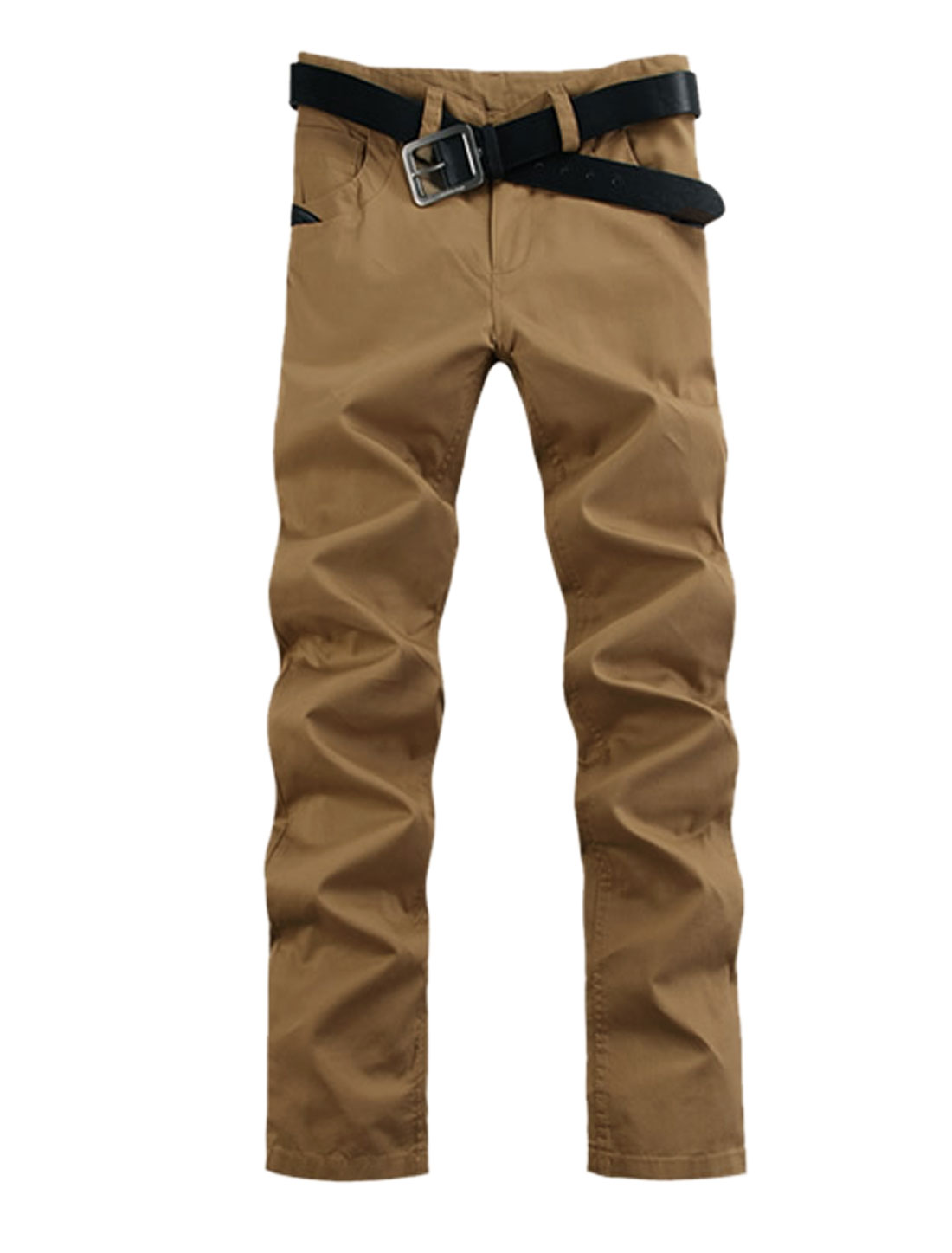 Men Belt Loop Zip Up Imitation Leather Casual Pants Khaki W40
