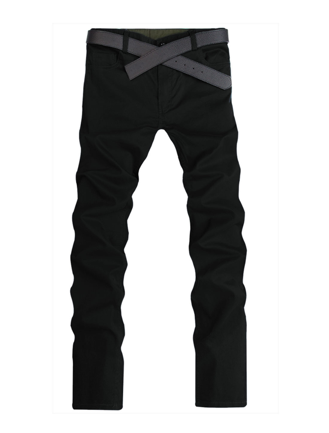 Summer Zip Fly Front Pockets Casual Pants for Men Black W32
