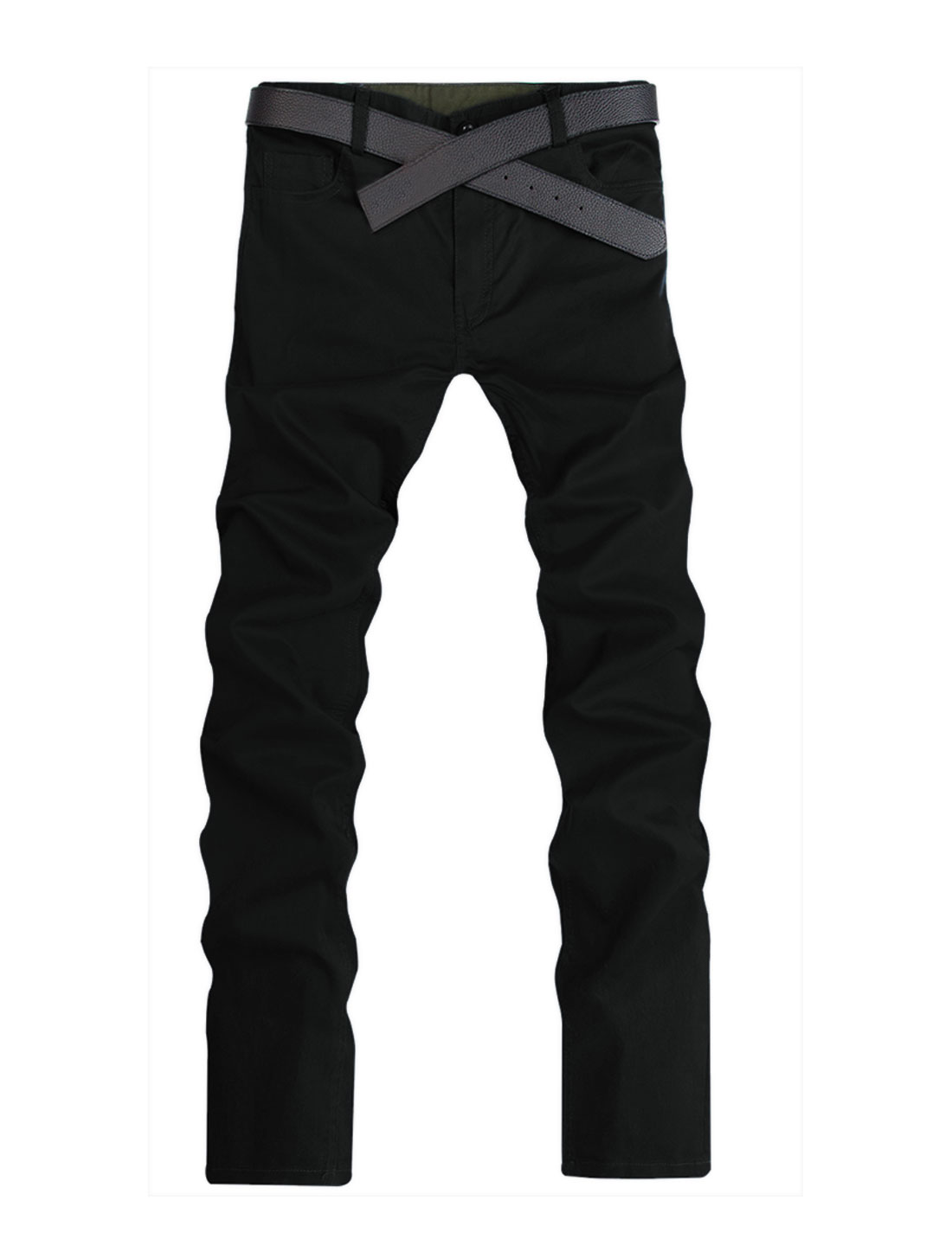 Men Summer Natural Waist Front Pockets Leisure Trousers Black W40