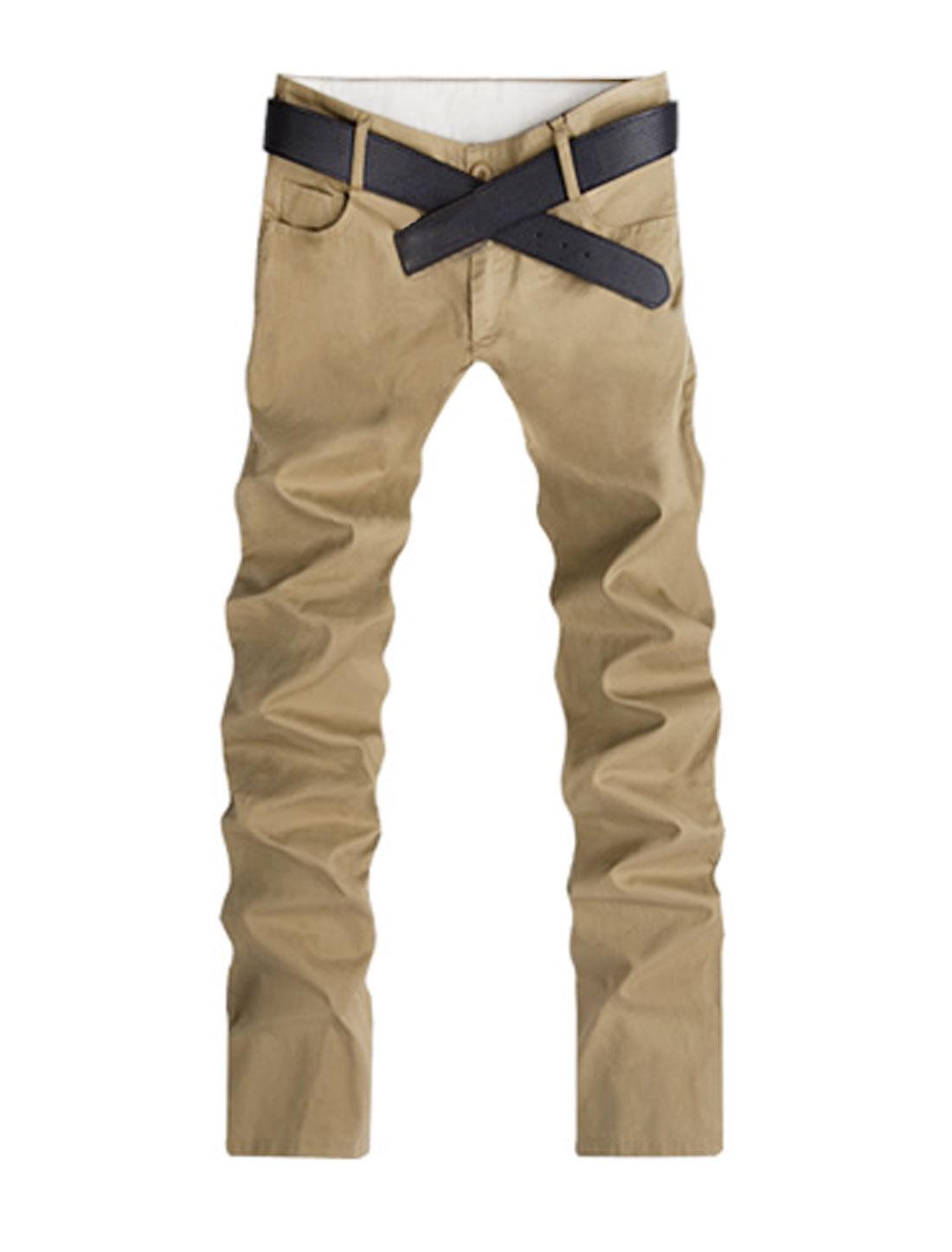 Men Summer Natural Waist Belt Loop Leisure Trousers Khaki W40