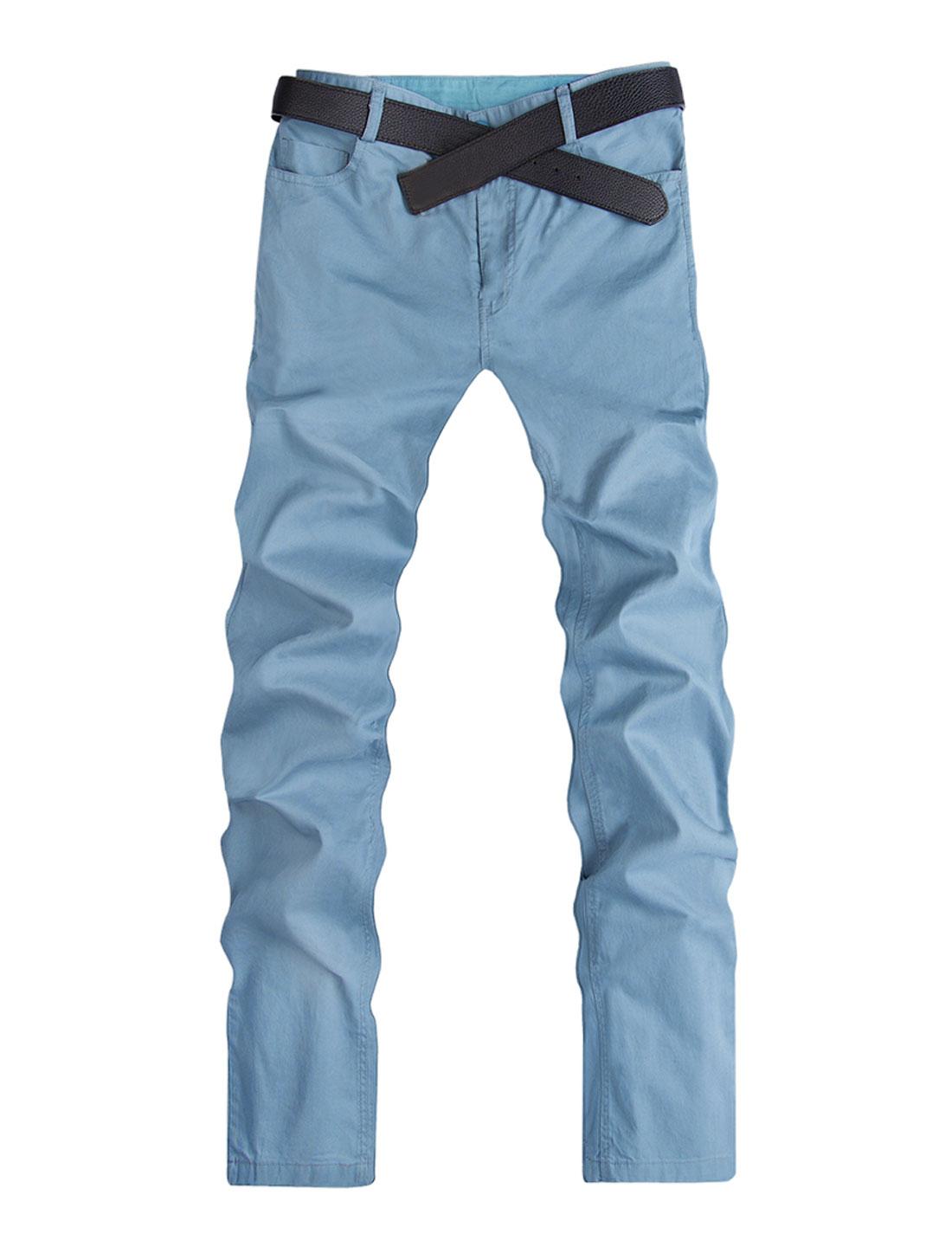 Men Summer Natural Waist Back Pockets Leisure Trousers Light Blue W40