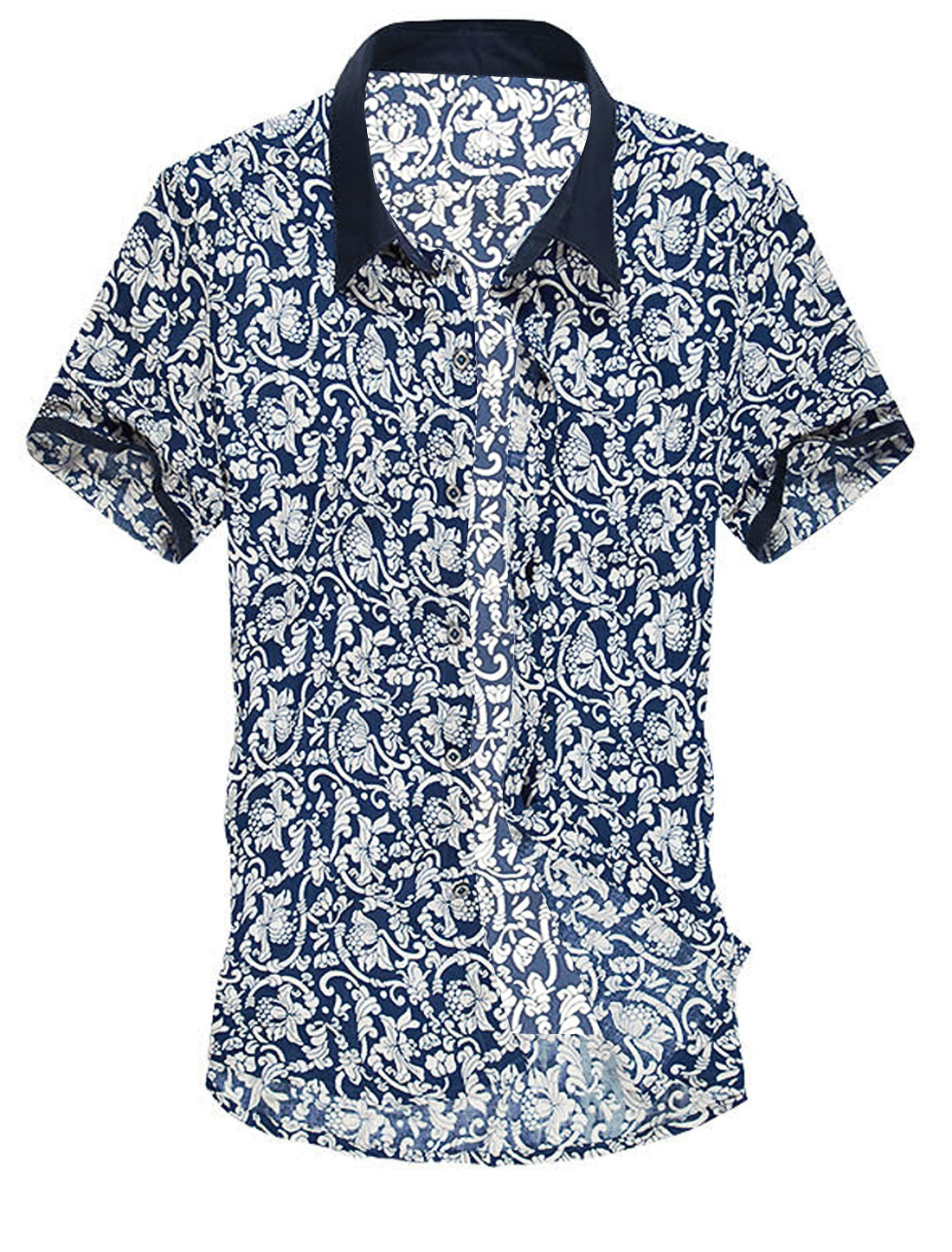 Point Collar Single Breasted Flower Pattern Shirt for Men Dark Blue M