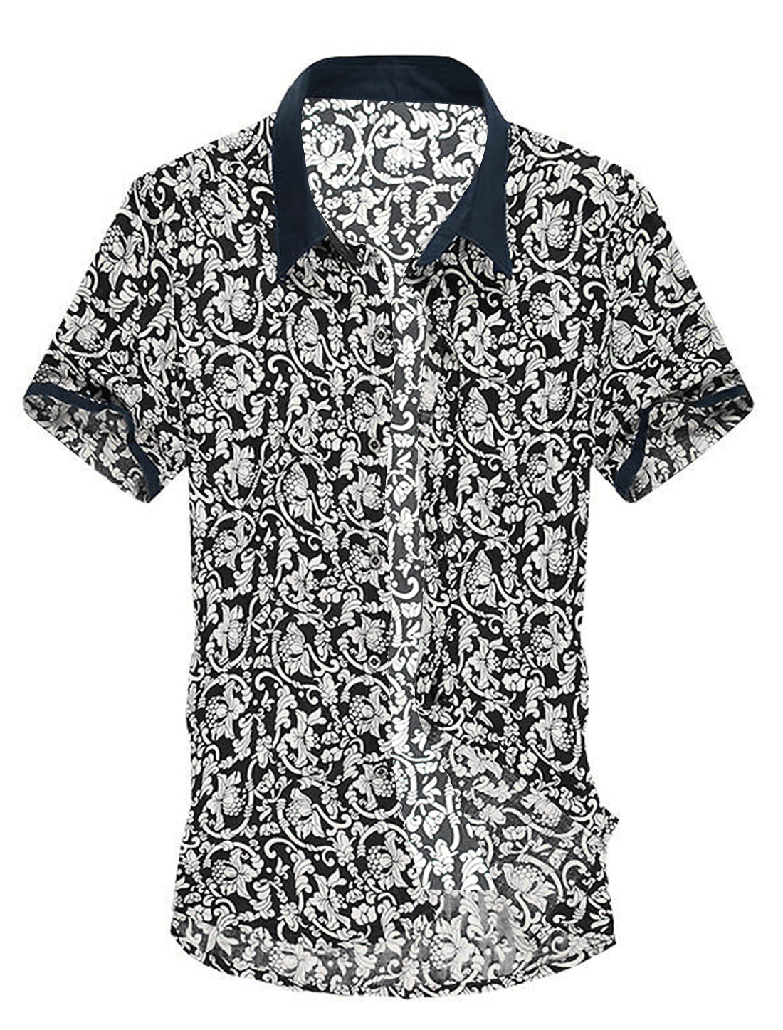 Point Collar Single Breasted All Over Flower Printing Shirt for Men Black L