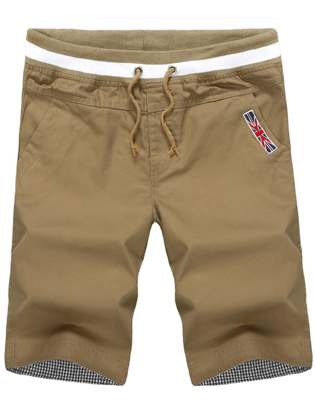 Men Rib Knit Waist Front Slant Pockets Casual Capris Khaki W32