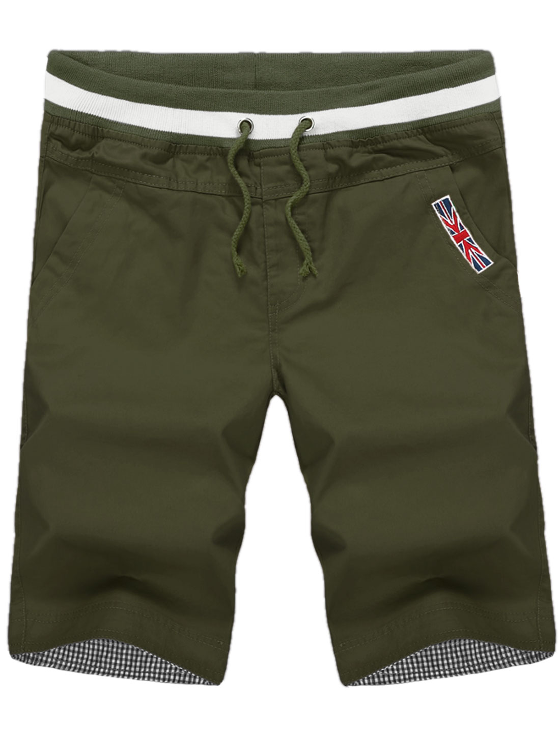 Men Roll Up Cuffs British Flag Applique Summer Fit Capris Army Green W36