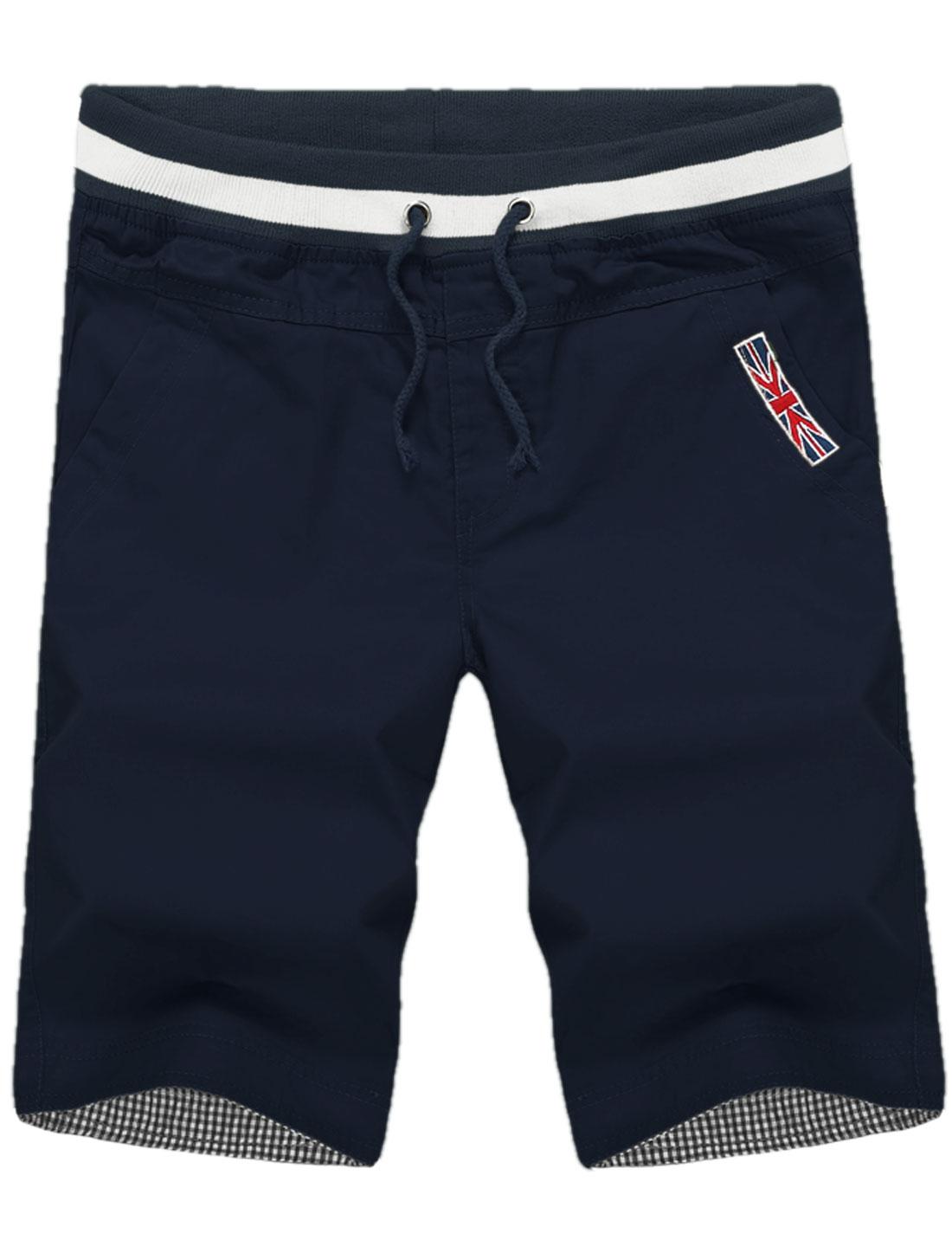 Men Front Slant Pockets Rib Knit Detail Summer Fit Capris Navy Blue W36
