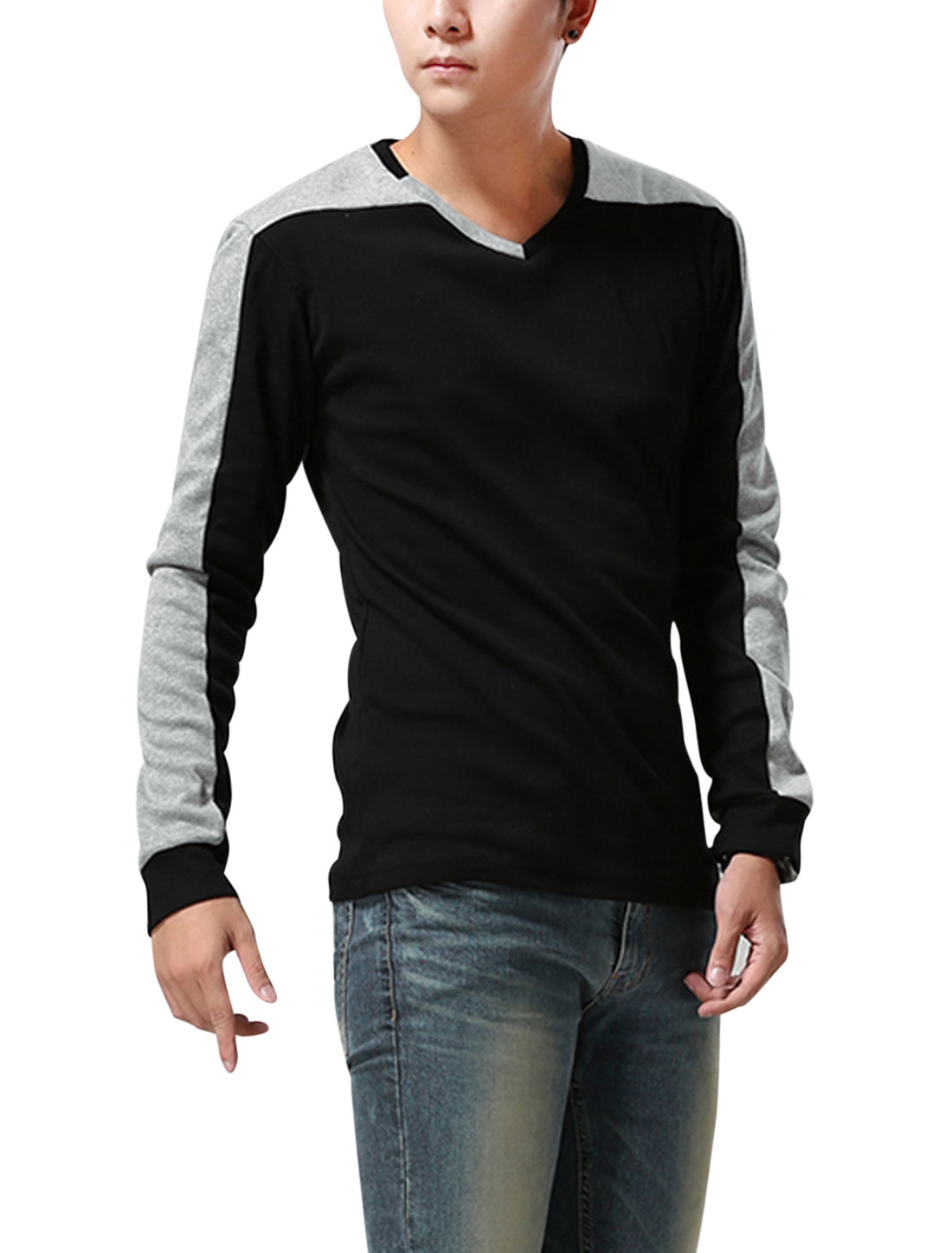 Men V Neck Long Sleeve Colorblock Trendy Slim Tee Black M