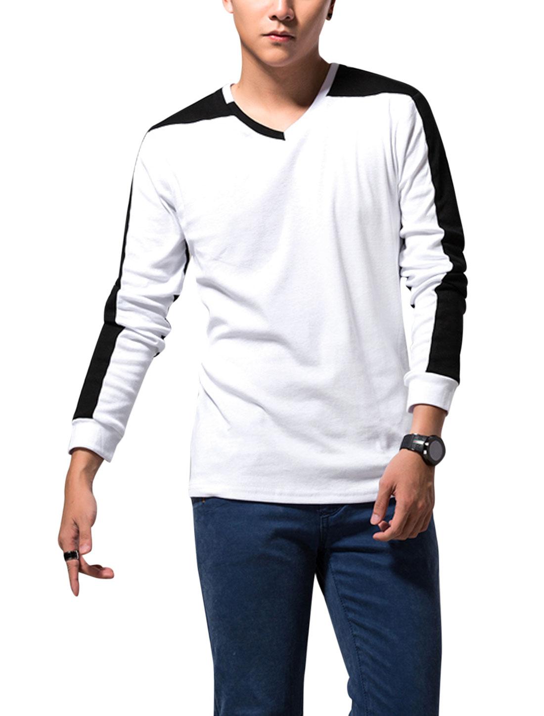 Men Stretchy Long Sleeve Colorblock Trendy Slim Tee Top White M