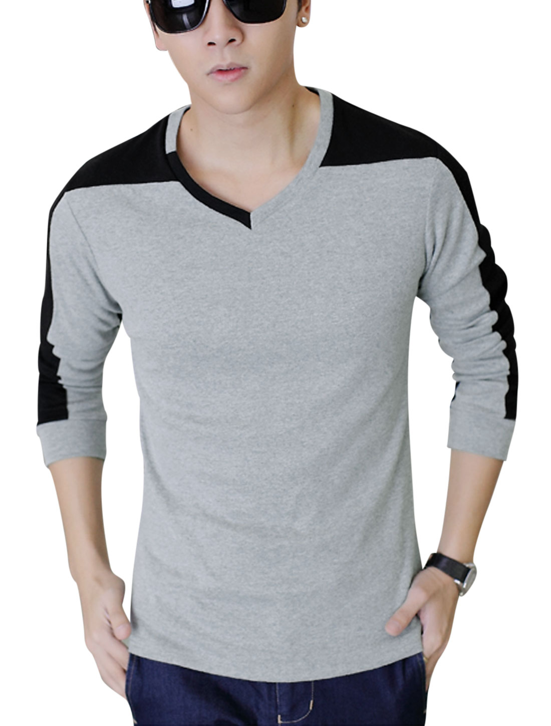 Men Stretchy Splicing Colorblock Trendy Slim Tee Top Light Gray M