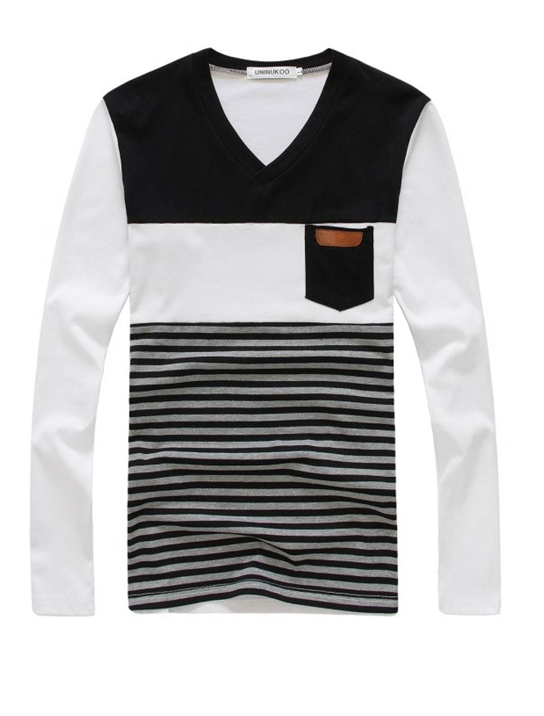 Men V Neck Colorblock Stripes Pattern Trendy Slim Tee Black M
