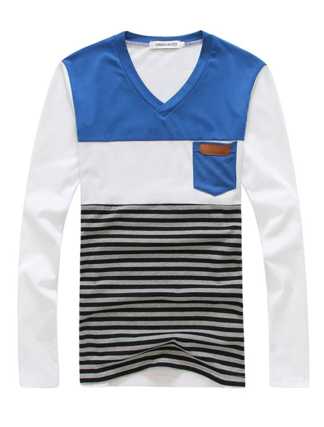 Men V Neck Splicing Stripes Pattern Trendy Slim Tee Blue M