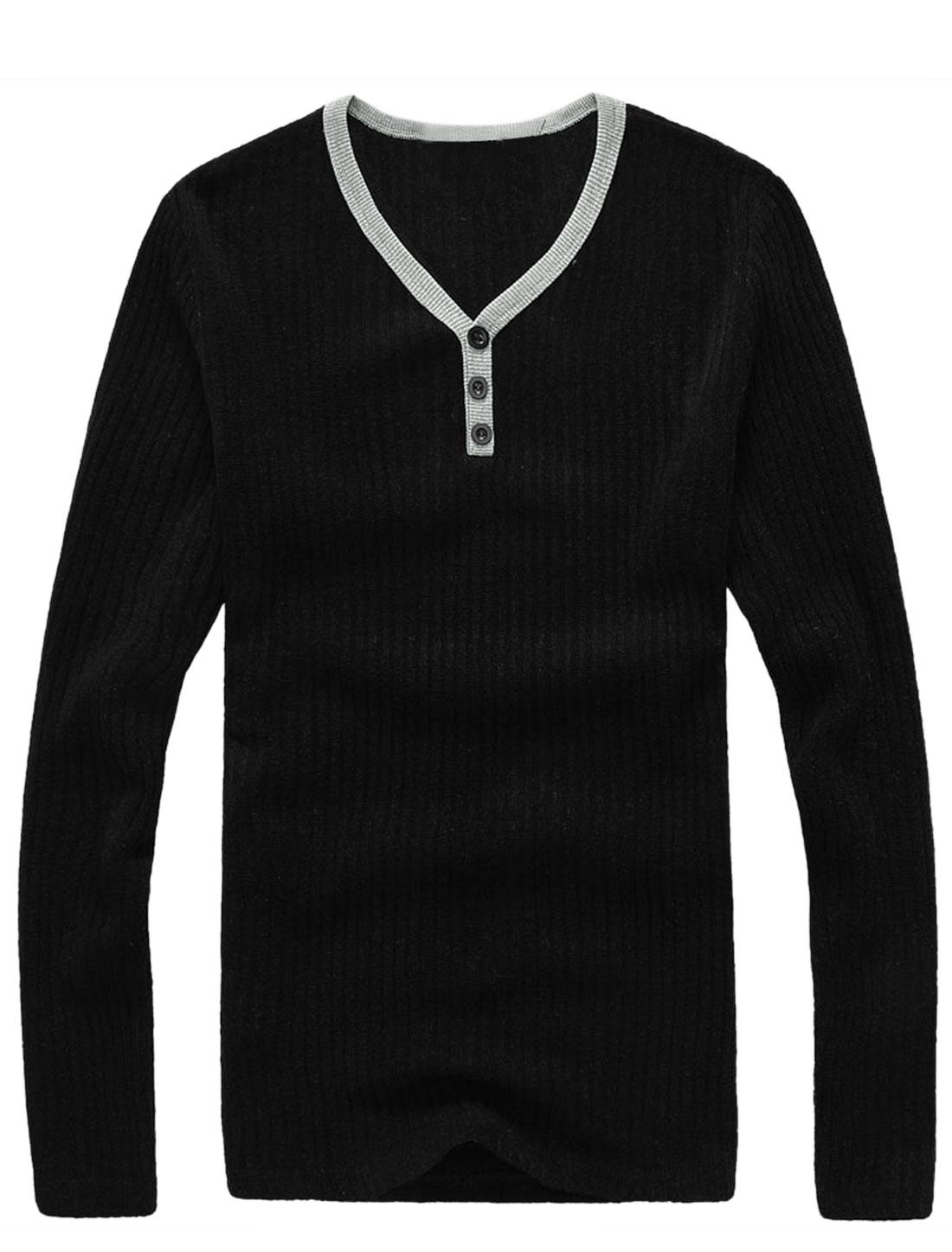 Men Slim Fit Y Neck Mock Placket Slipover Knit Top Black M