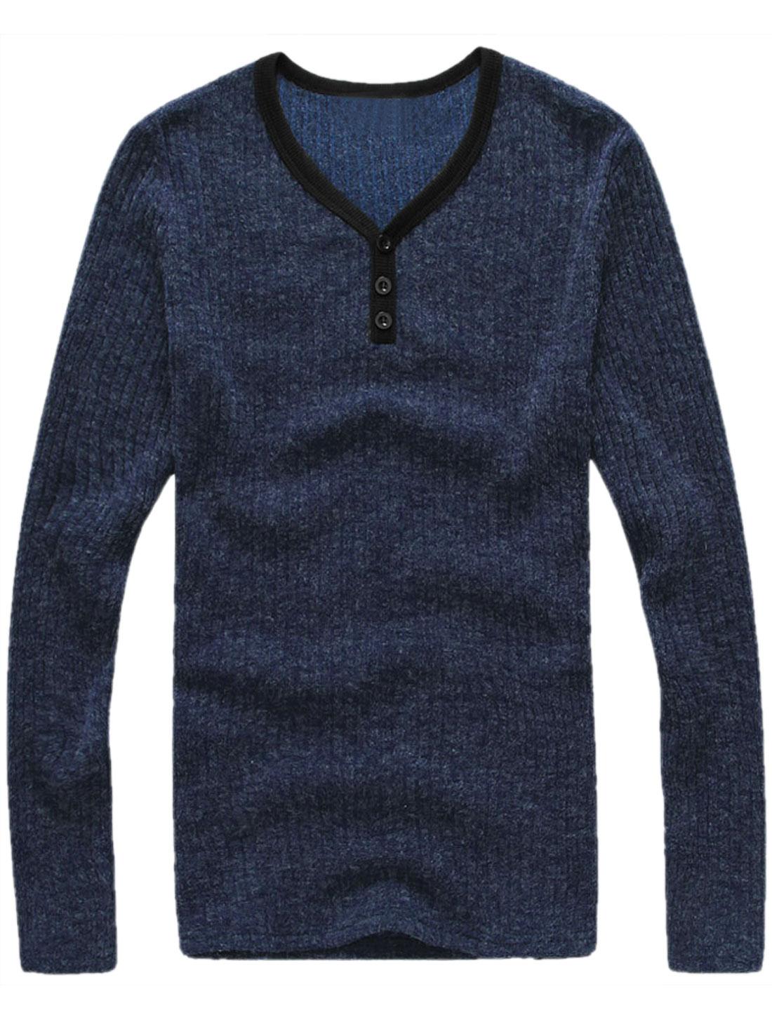 Men Fashion Y Neck Mock Placket Slipover Knit Tee Top Navy Blue M