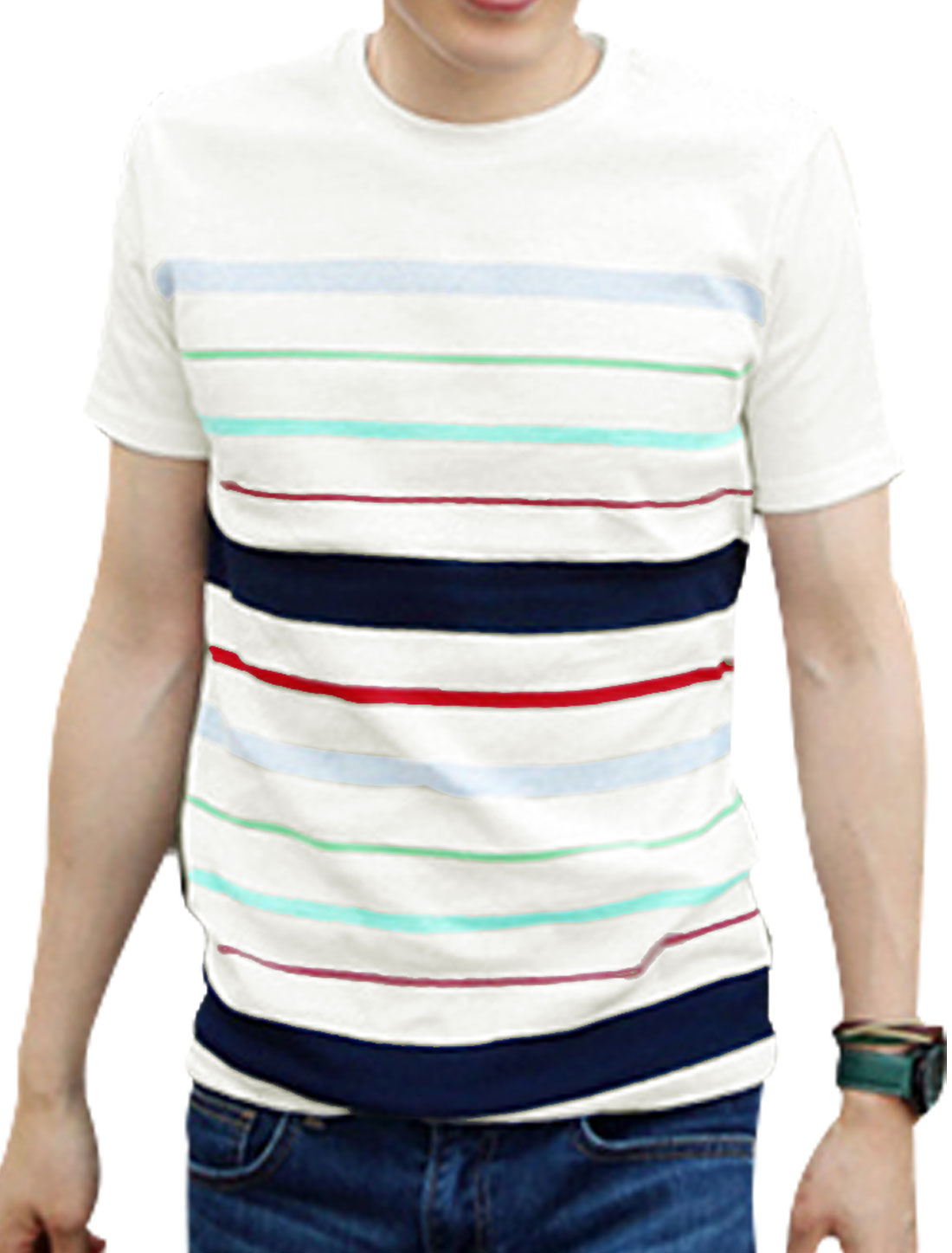 Men Summer Wear Round Neck Short Sleeve Red Stripes Casual T-shirt M