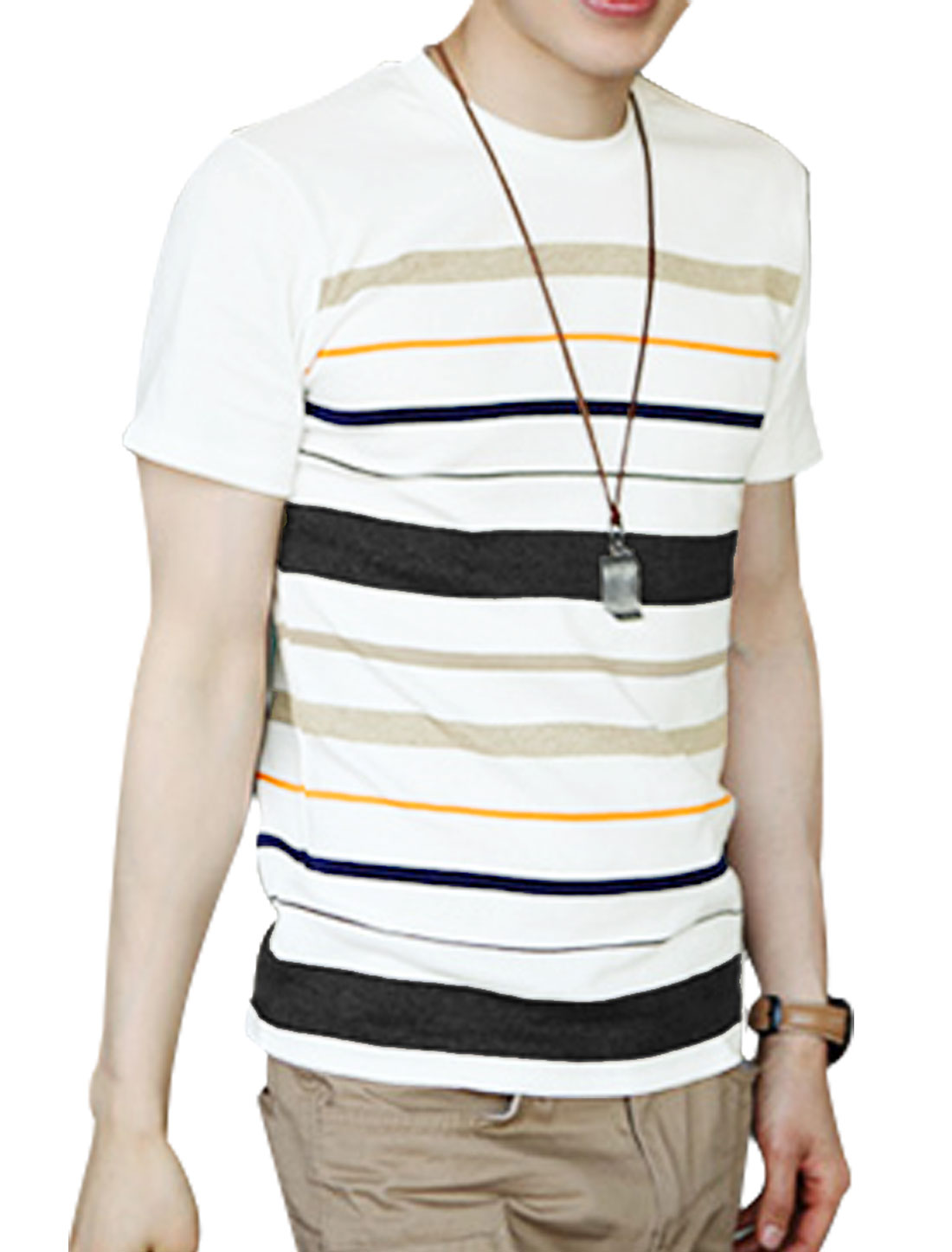 Men Round Neck Navy Horizontal Stripes Casual Short Sleeve Tee Shirt M
