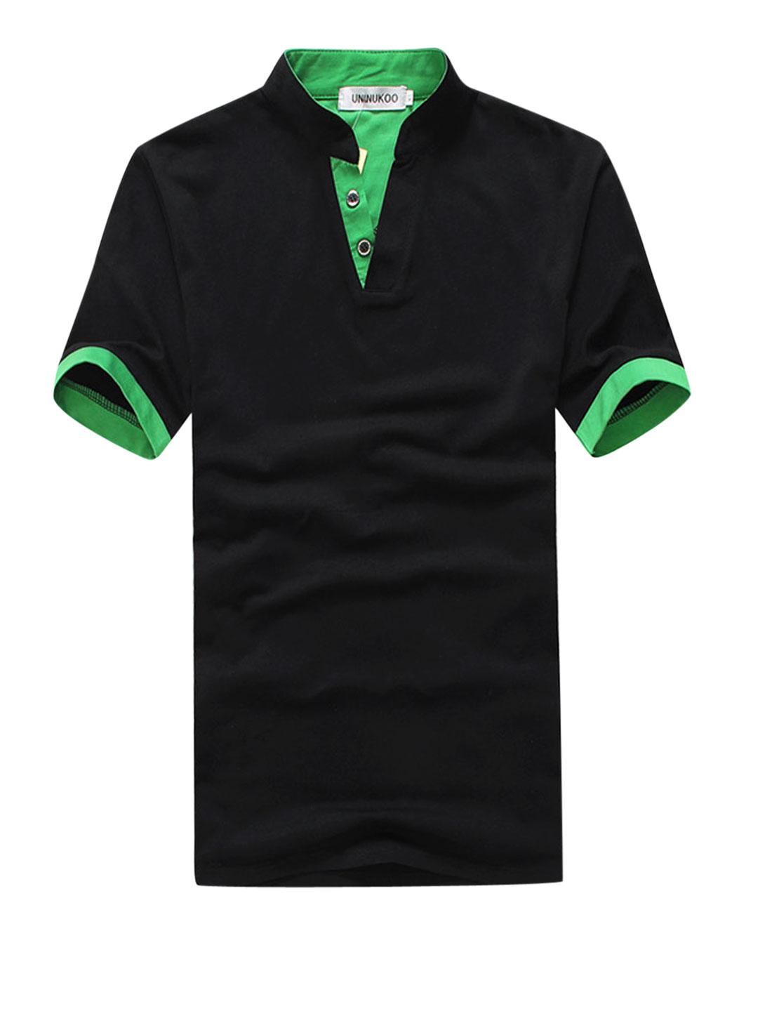 Men Stand Collar Panel 3/4 Placket Trendy Slim Tee Shirt Black M
