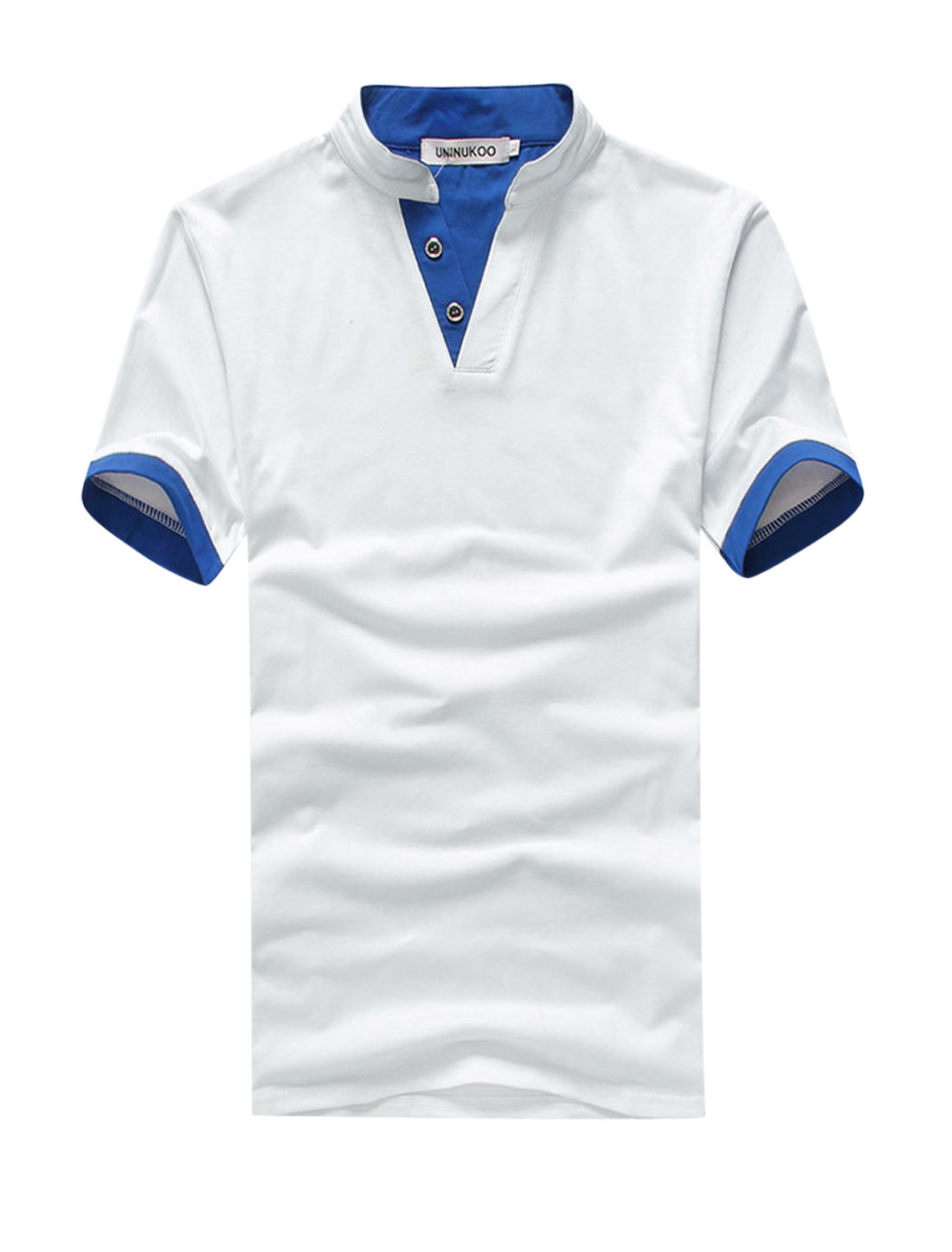 Men Stand Collar Two Buttons Closure Trendy Slim Tee Shirt White M