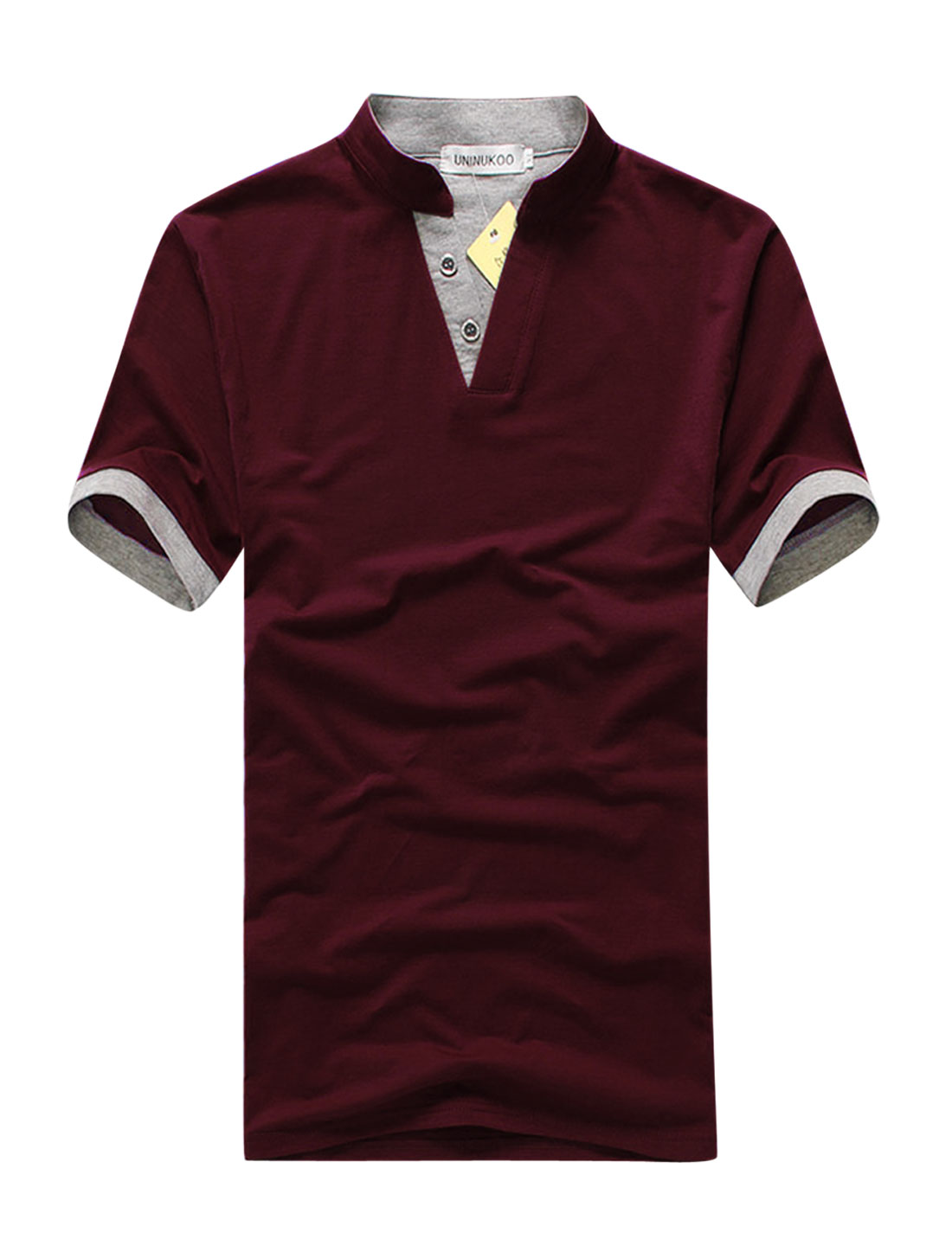 Men Slipover Stand Collar Two Buttons Closed Trendy Slim Shirt Burgundy M